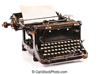 Portable Typewriter - old fashioned, vintage typewriter with...