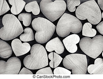 Heart Background - vintage wooden hearts, black and white