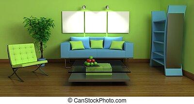 Design interior - 3D design interior with furnitures