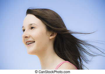 Portrait of Teen Girl - Portrait of Smiling Teen Girl with...