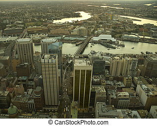 Sydney CBD at sunset aerial view, photo taken from Sydney...