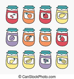 Set of doodle jars with jam. Hand-drawn vector illustration.