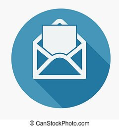 Mail icon, open envelope Flat design vector illustration...