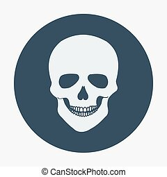 Single flat skull icon. Vector illustration, easy paste to...