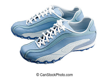 Sport shoe isolated - Blue atheletic footwear on white...