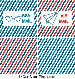 Set of air and sea mail vector illustrations on the striped...