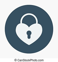 Single flat heart padlock icon Vector illustration...
