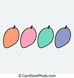 Hand drawn mango in doodle style Vector illustration Sketch...