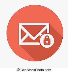 Mail icon, envelope with padlock. Flat design vector illustration.