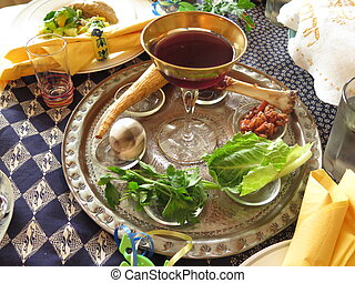 Passover Seder - Jewish Holidays: Traditional Seder Plate on...