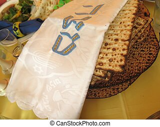 Matza - Jewish Holidays Traditional Matzot Laid Out on...