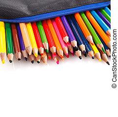 Color pencil background - color pencils in pencil case on...
