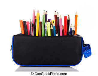 pencil case with school tools on a white background