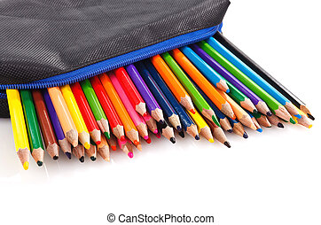 Color pencil - color pencils in pencil case on white...