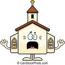 Scared Cartoon Church - A cartoon illustration of a church...