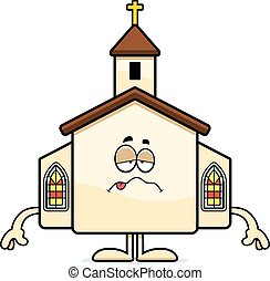 Sick Cartoon Church - A cartoon illustration of a church...