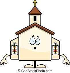 Surprised Cartoon Church - A cartoon illustration of a...