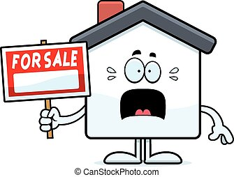 Scared Cartoon Home Sale - A cartoon illustration of a home...