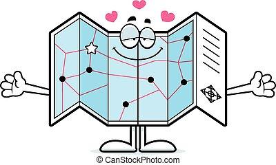 Cartoon Road Map Hug - A cartoon illustration of a road map...
