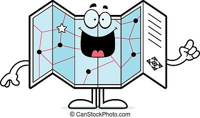 Cartoon Road Map Idea - A cartoon illustration of a road map...