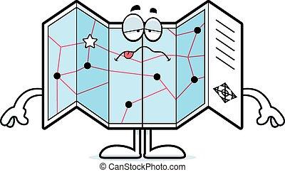 Sick Cartoon Road Map - A cartoon illustration of a road map...