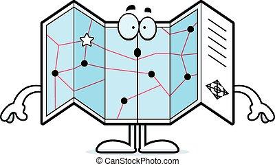Surprised Cartoon Road Map - A cartoon illustration of a...