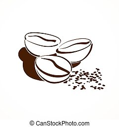 Coffee beans - Vector sketch of coffee beans