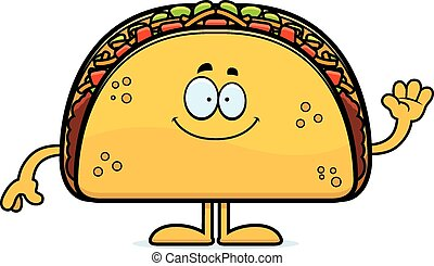 Cartoon Taco Waving - A cartoon illustration of a taco...