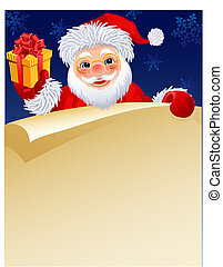 Santa claus - Vector illustration - Santa Klaus with a paper...