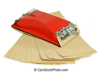 Sandpaper with holder on bright background