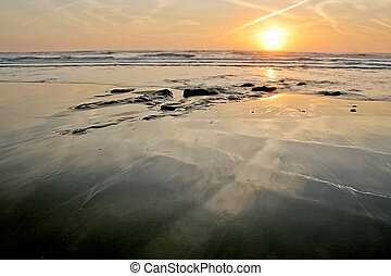 Beach reflections - Sunset reflections, Porto Covo, Portugal...