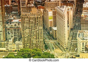 Midtown Manhattan aerial skyline.