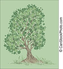 Vector Tree on a Green Background