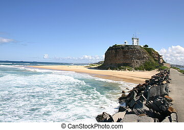 Nobbys Lighthouse. A historic landmark Newcastle Australia