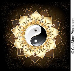 yin yang golden lotus - yin yang symbol , drawn in the...