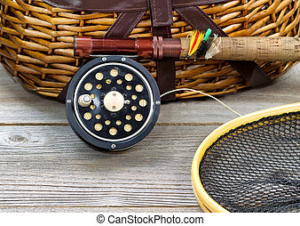 Fly Fishing Gear with Creel - antique fly fishing reel, rod,...