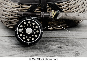Fishing Season - Vintage concept, with grain, of an antique...