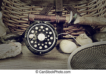 mist on fishing gear - Vintage concept with grain of a wet...