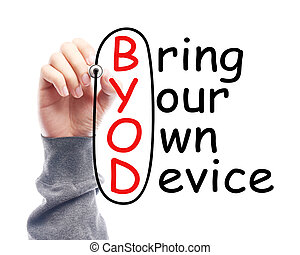 Bring your own device - Hand with marker is drawing Bring...