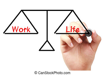 Work and life balance - Hand with marker is drawing Work and...