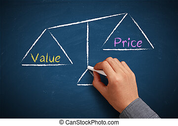Value and price balance - Hand with chalk is drawing Value...