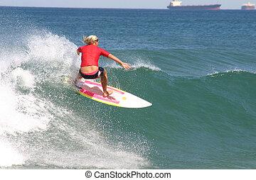 Um, menina, surfando, competição, praia,...