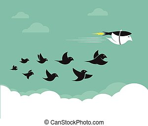 Vector images of birds and rockets in the sky.