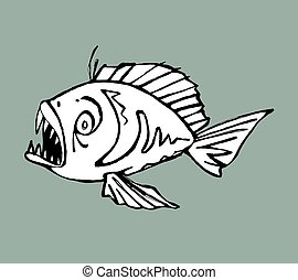 Piranha - Hand drawn vector illustration of a piranha