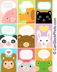 cute animal labels - set of labels with cartoon animals