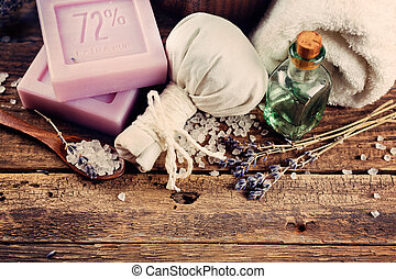 CPA concept, lavender soap on a wooden background