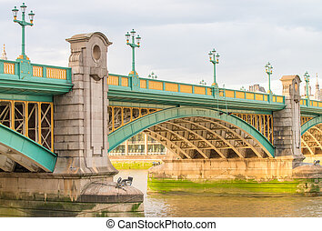 Section of Southwark Bridge, over River Thames, London.