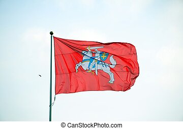 Lithuanian historical flag knight on the red background -...