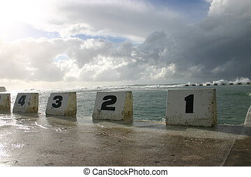 Numbered starting blocks at Merewether ocean baths,...