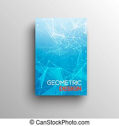 3D Abstract low poly blue bright technology vector background. Connection structure. Vector data science background. Polygonal vector background. Molecule And Communication Background.